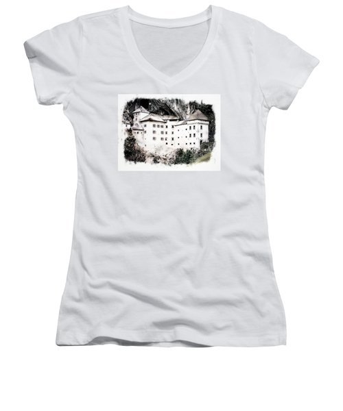 Predjama Castle Women's V-Neck T-Shirt