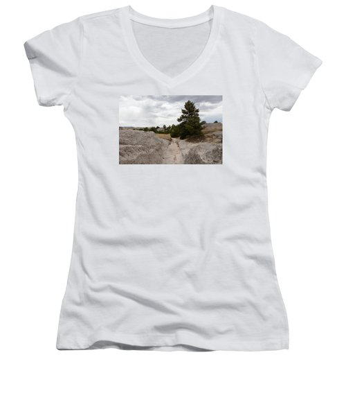Women's V-Neck T-Shirt (Junior Cut) featuring the photograph Preserved Wagon Ruts Of The Oregon Trail On The North Platte River by Carol M Highsmith