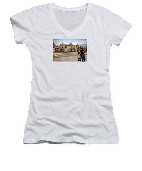 Presidential Palace In Lima Women's V-Neck (Athletic Fit)