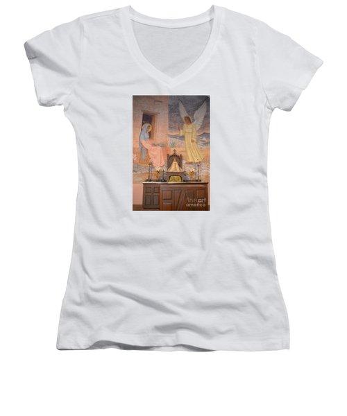 Presidio La Bahia Mission Women's V-Neck T-Shirt (Junior Cut) by Donna Brown