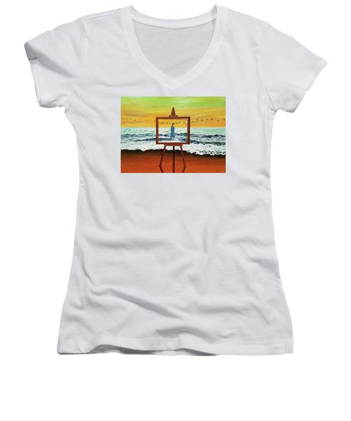 Pretty As A Picture Women's V-Neck (Athletic Fit)