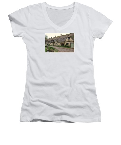 Pretty Cottages All In A Row Women's V-Neck T-Shirt