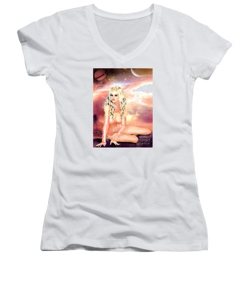 Pretty In Peach Galaxies Women's V-Neck T-Shirt