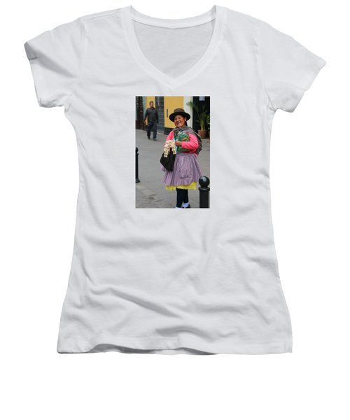 Pretty Lady In Lima Peru Women's V-Neck (Athletic Fit)