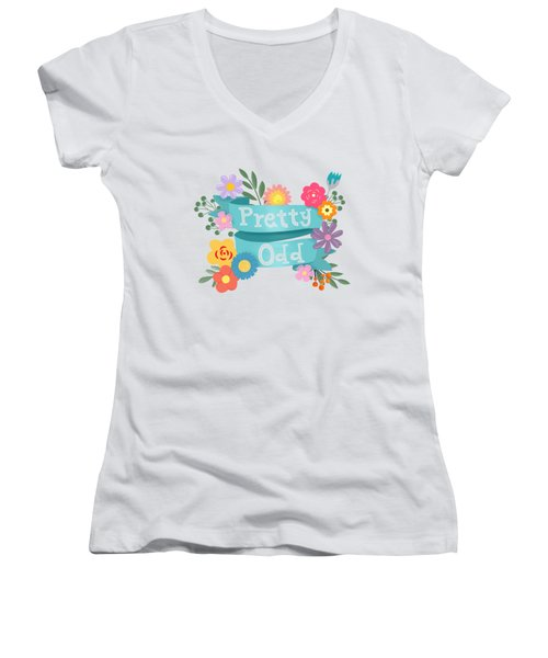 Pretty Odd Floral Banner Women's V-Neck