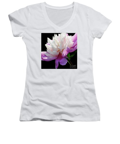 Pretty Pink Peony Flower Wall Art Women's V-Neck T-Shirt