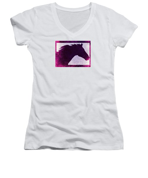 Pretty Purple Horse  Women's V-Neck T-Shirt (Junior Cut)
