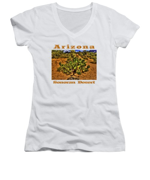 Prickly Pear In Bloom With Brittlebush And Cholla For Company Women's V-Neck