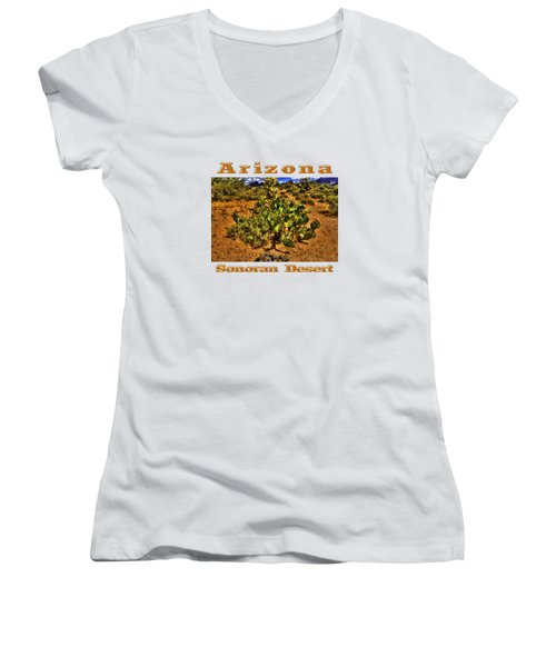 Prickly Pear In Bloom With Brittlebush And Cholla For Company Women's V-Neck T-Shirt