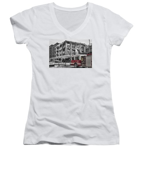 Pride, Commitment, And Service -after The Fire Women's V-Neck T-Shirt
