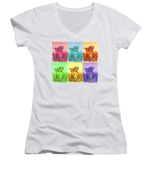 Primary Bunnies Women's V-Neck T-Shirt