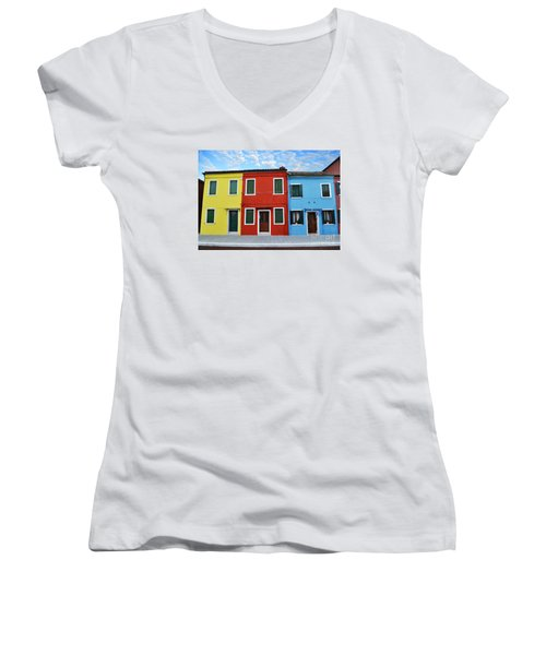 Women's V-Neck T-Shirt (Junior Cut) featuring the photograph Primary Colors Too Burano Italy by Rebecca Margraf