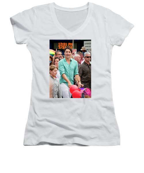 Women's V-Neck T-Shirt (Junior Cut) featuring the photograph Prime Minister Justin Trudeau by Chris Dutton