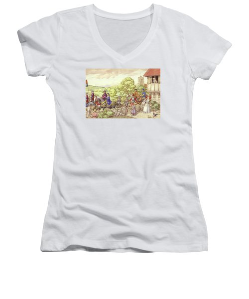 Prince Edward Riding From Ludlow To London Women's V-Neck T-Shirt (Junior Cut) by Pat Nicolle