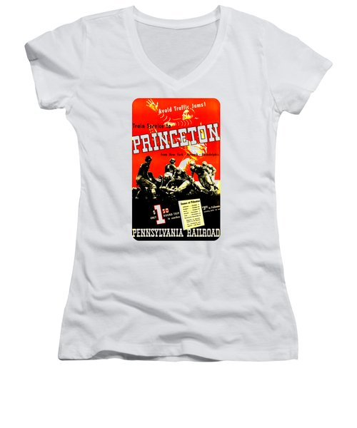Princeton University Football 1936 Pennsylvania Railroad Women's V-Neck T-Shirt (Junior Cut) by Peter Gumaer Ogden Collection