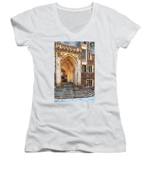 Women's V-Neck T-Shirt (Junior Cut) featuring the photograph Princeton University Lockhart Hall Dorms by Susan Candelario