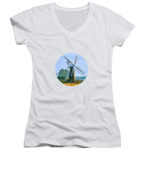 Women's V-Neck featuring the photograph Priory Windmill by Valerie Anne Kelly