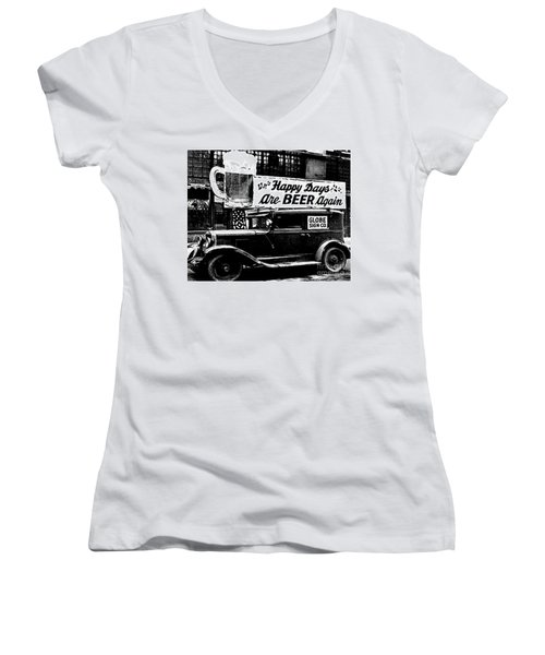 Prohibition Happy Days Are Beer Again Women's V-Neck (Athletic Fit)