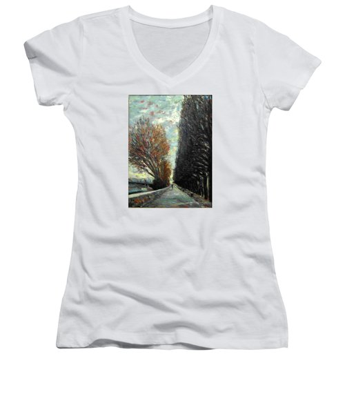 Women's V-Neck T-Shirt (Junior Cut) featuring the painting Promenade by Walter Casaravilla