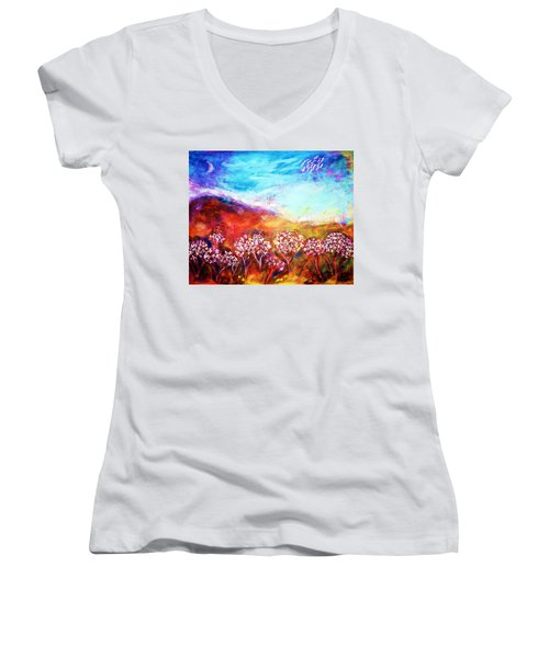 Women's V-Neck T-Shirt featuring the painting Promise by Winsome Gunning