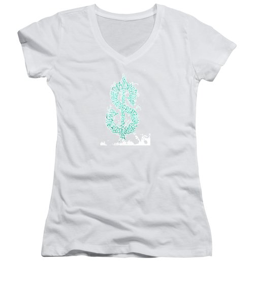 Prosperity. Calligraphy Abstract Women's V-Neck (Athletic Fit)