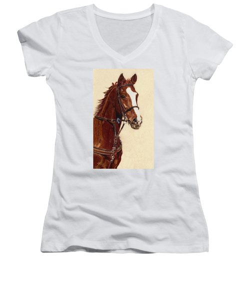 Proud - Portrait Of A Thoroughbred Horse Women's V-Neck (Athletic Fit)