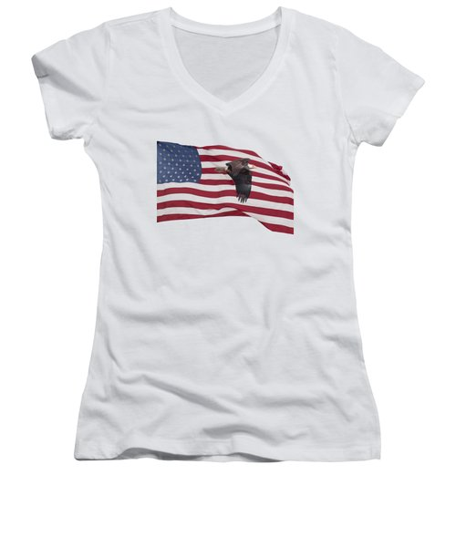 Proud To Be An American Women's V-Neck T-Shirt (Junior Cut) by Thomas Young