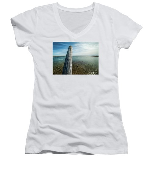 Provincetown Breakwater #2 Women's V-Neck (Athletic Fit)