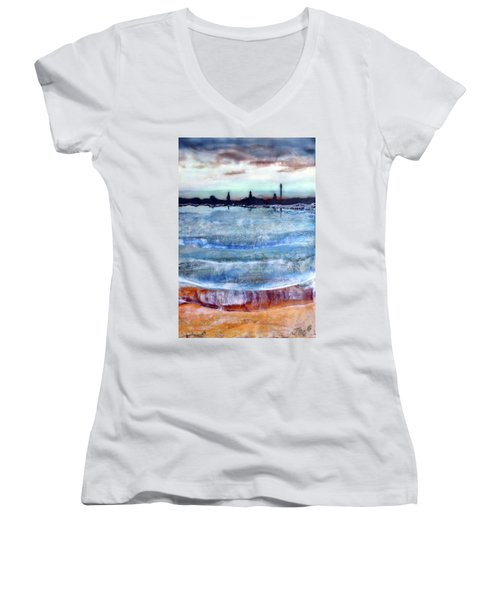 Provincetown Skyline 1 Women's V-Neck (Athletic Fit)