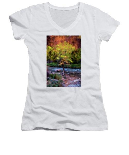 Psalm 1 Women's V-Neck T-Shirt (Junior Cut) by Annette Berglund