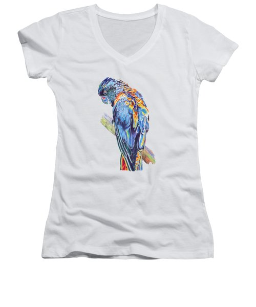 Psychedelic Parrot Women's V-Neck T-Shirt (Junior Cut) by Lorraine Kelly