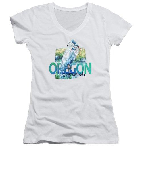 Puddletown Great Blue Heron Women's V-Neck T-Shirt (Junior Cut) by Kara Skye