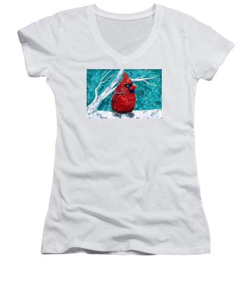 Pudgy Cardinal Women's V-Neck T-Shirt