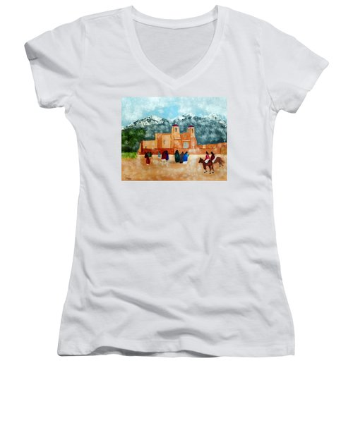 Pueblo Church Women's V-Neck T-Shirt (Junior Cut) by Joseph Frank Baraba