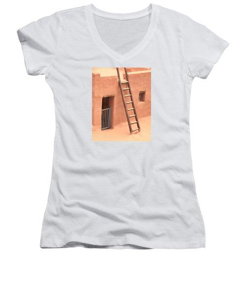 Pueblo Women's V-Neck T-Shirt (Junior Cut) by John Bushnell