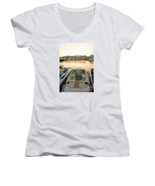 Puerto Banus Women's V-Neck T-Shirt (Junior Cut) by Perry Van Munster