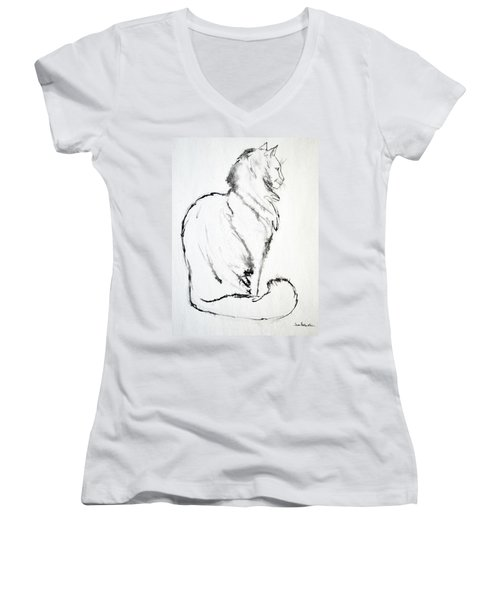 Women's V-Neck T-Shirt (Junior Cut) featuring the drawing Puff by Joan Hartenstein