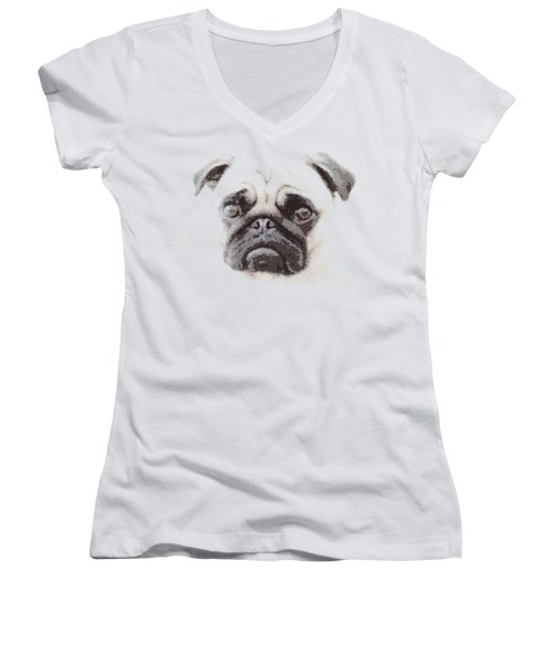 Pug Dog -  Parallel Hatching Women's V-Neck T-Shirt