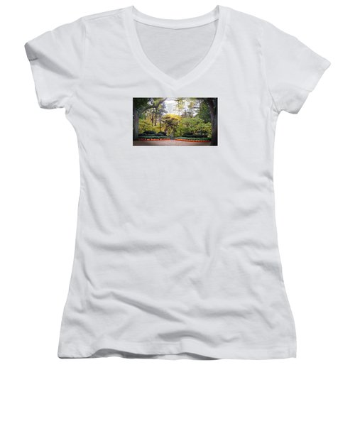 Women's V-Neck T-Shirt (Junior Cut) featuring the photograph Pumpkins In A Row by Teresa Schomig