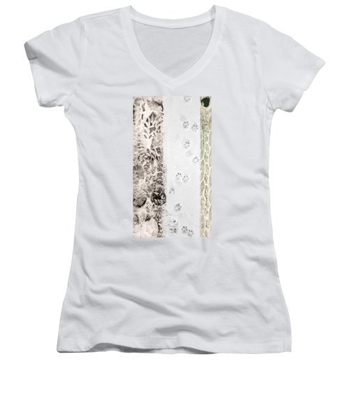 Puppy Prints In The Snow Women's V-Neck