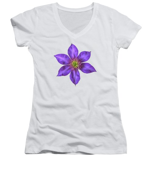 Purple Clematis Flower With Soft Look Effect Women's V-Neck T-Shirt