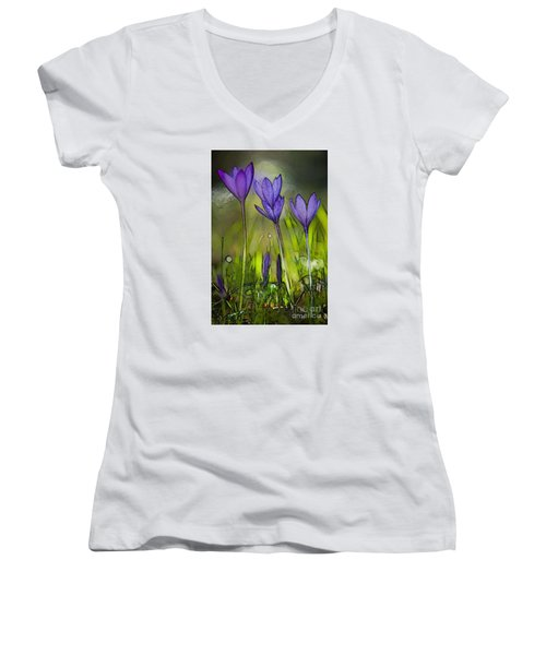 Women's V-Neck T-Shirt (Junior Cut) featuring the photograph Purple Crocus Flowers by Jean Bernard Roussilhe