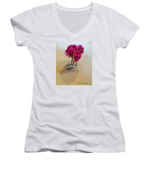 Purple Dahlias Women's V-Neck T-Shirt (Junior Cut) by Melissa Abbott