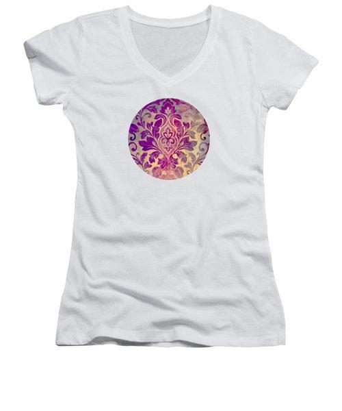 Purple Damask Pattern Women's V-Neck (Athletic Fit)