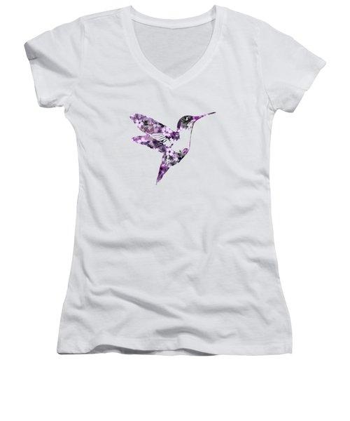 Purple Floral Hummingbird Art Women's V-Neck