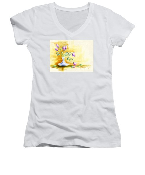 Purple Flowers In Vase Women's V-Neck T-Shirt