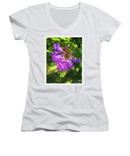 Purple Flowers Women's V-Neck (Athletic Fit)