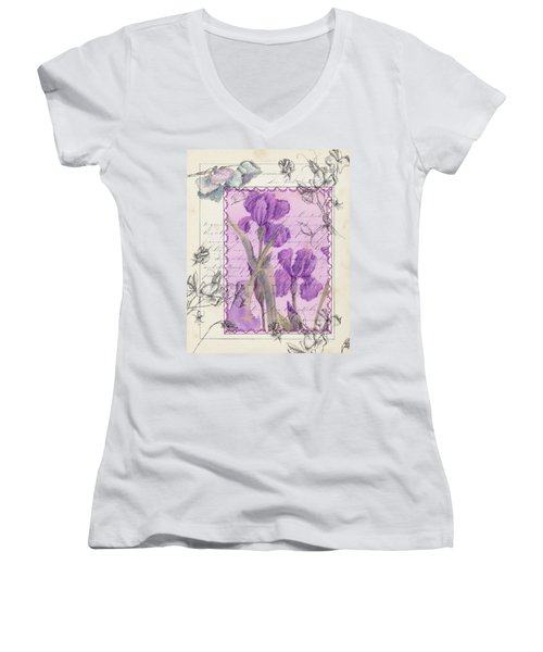 Women's V-Neck T-Shirt (Junior Cut) featuring the drawing Purple Iris by Cathie Richardson