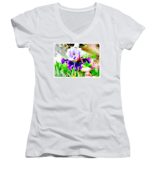 Purple Iris Women's V-Neck T-Shirt (Junior Cut)