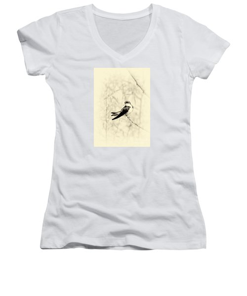 Women's V-Neck T-Shirt (Junior Cut) featuring the photograph Purple Martin by Lila Fisher-Wenzel